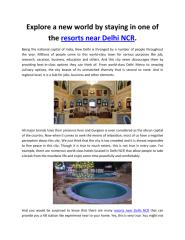 Explore a new world by staying in one of the resorts near Delhi NCR..pdf