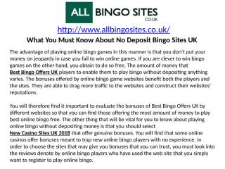 What You Must Know About No Deposit Bingo Sites UK.pptx