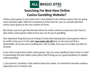 Searching For Best New Online Casino Gambling Website.pptx